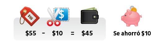$55-$10=$45 Se ahorró $10